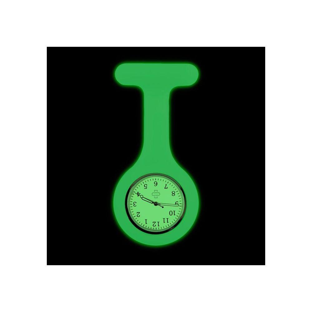 Glow in the dark sjuksköterskeklocka + ur, Grön