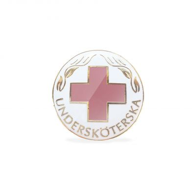 Emaljerad vårdbrosch, USK, rosa