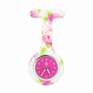Flowerbomb sjuksköterskeklocka, vit + rosa ur